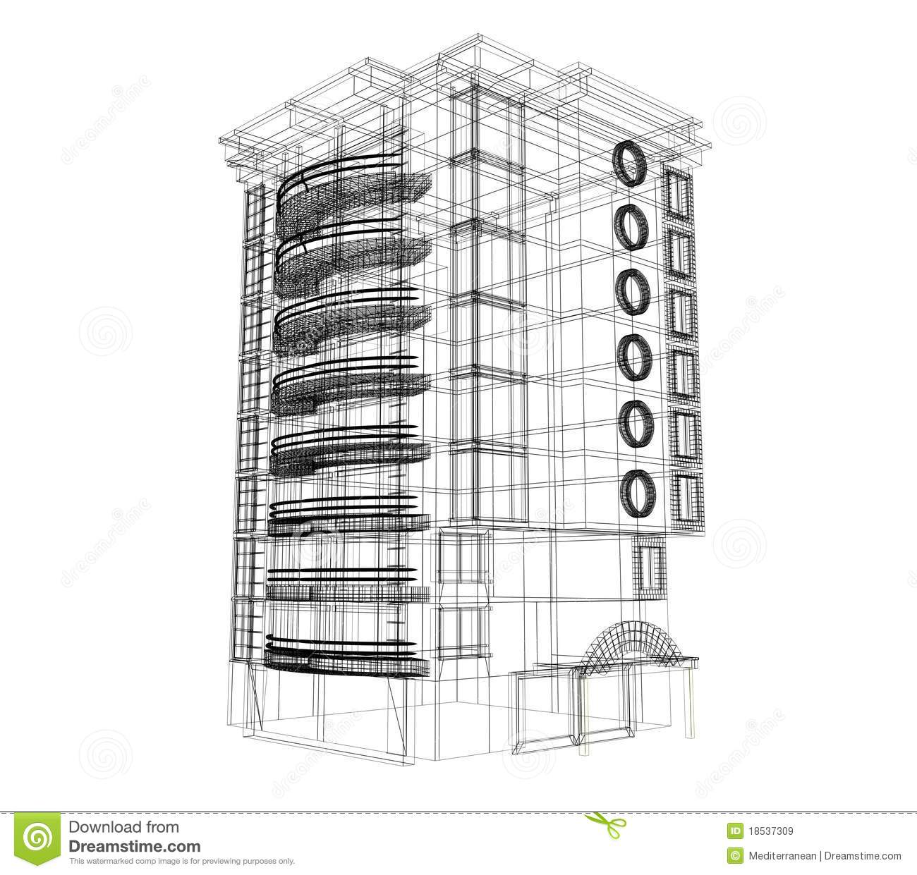 3d Building Plan Royalty Free Stock Images - Image: 18537309