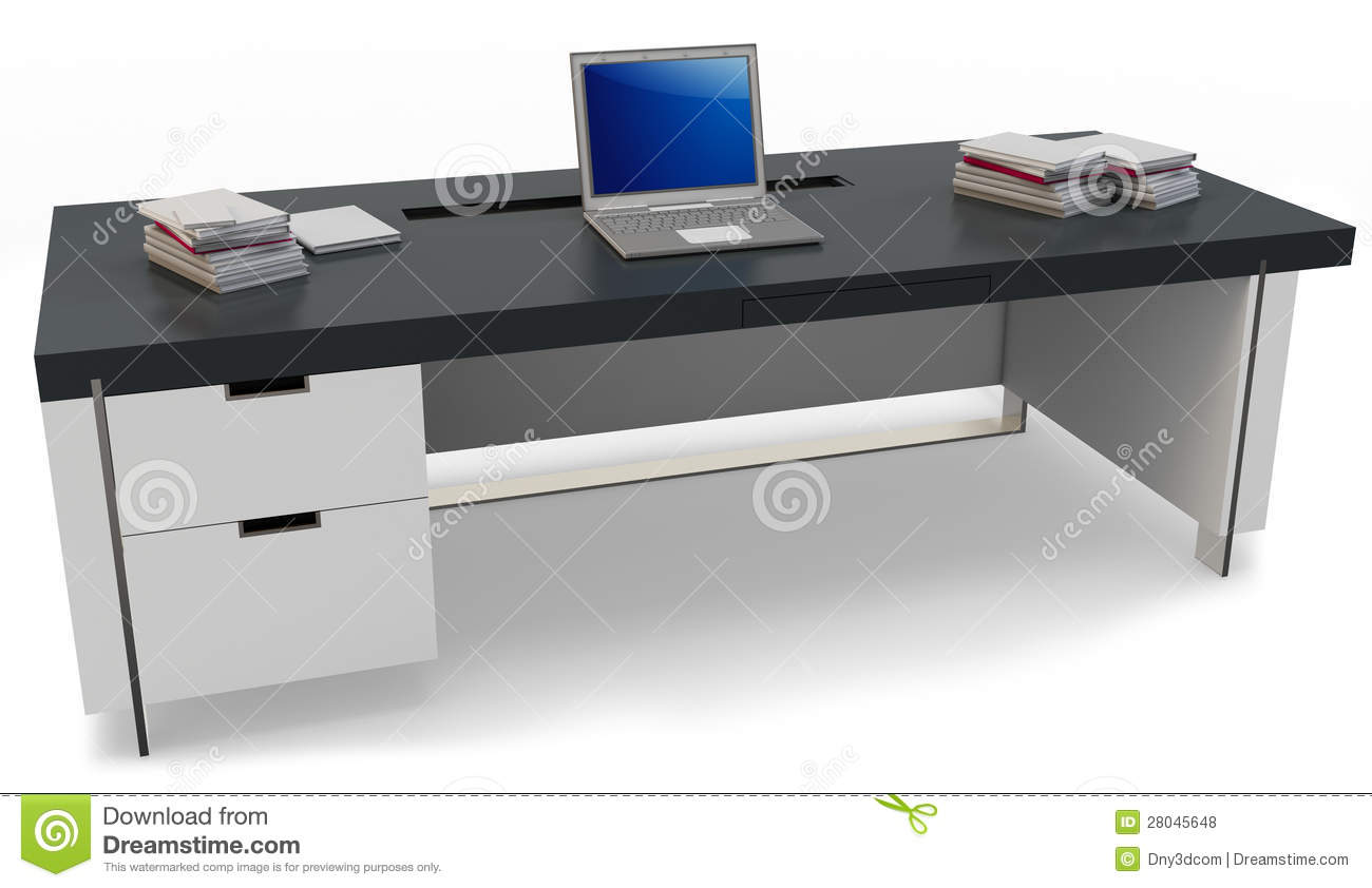 3d bureau met laptop en uitvoerende stoel stock illustratie illustratie bestaande uit. Black Bedroom Furniture Sets. Home Design Ideas