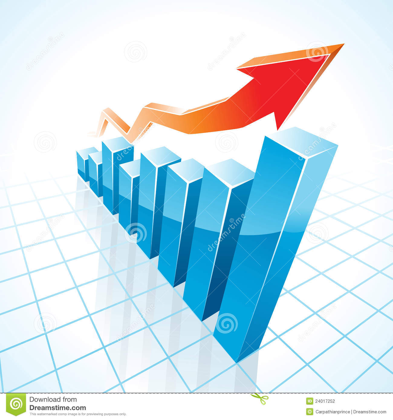 3d business growth bar graph stock vector illustration for Grafica 3d gratis