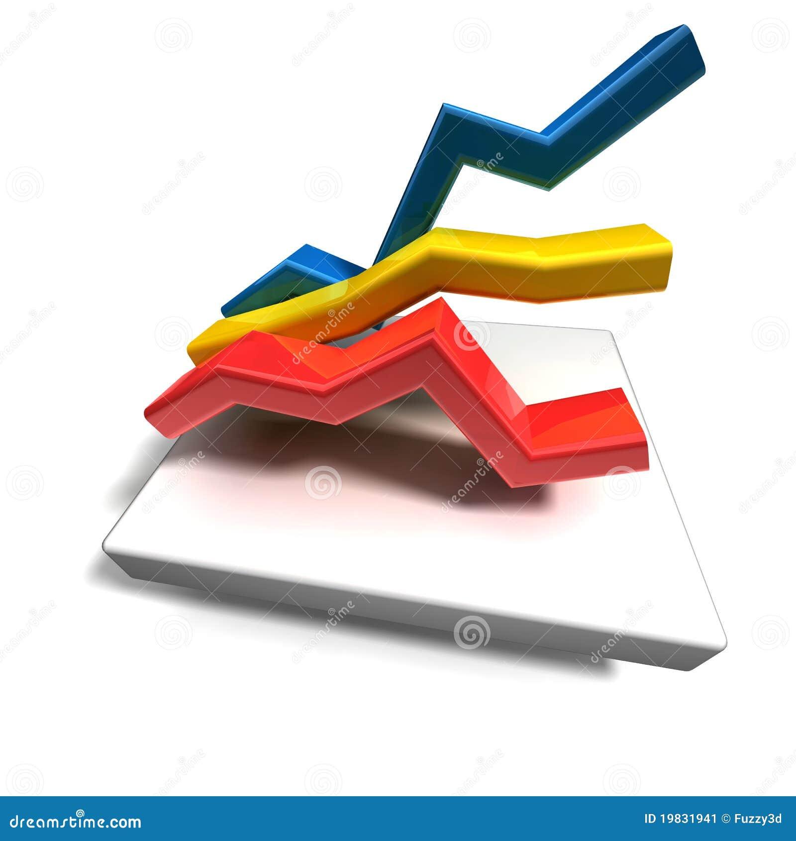 3d business line graph stock illustration. illustration of number