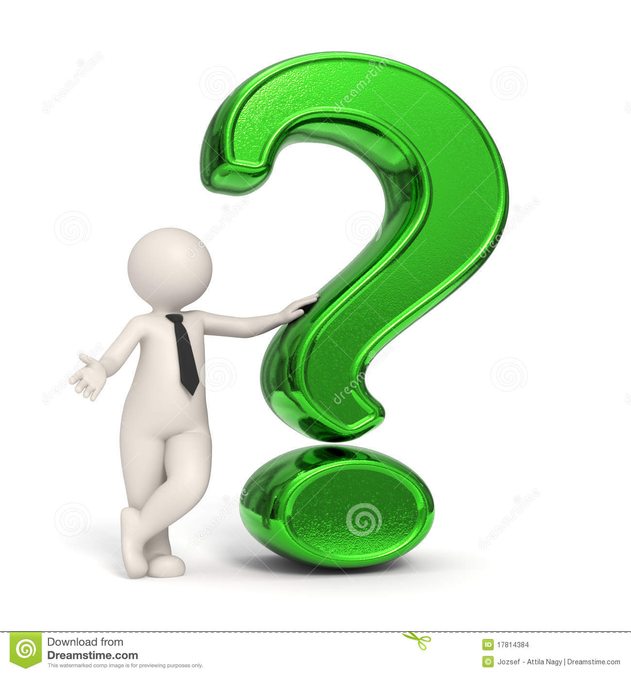 3d Business Man Green Question Mark Stock Images Image 17814384