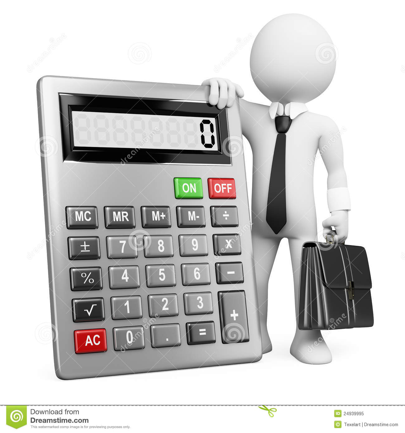 3d Business White People Calculator Stock Illustration