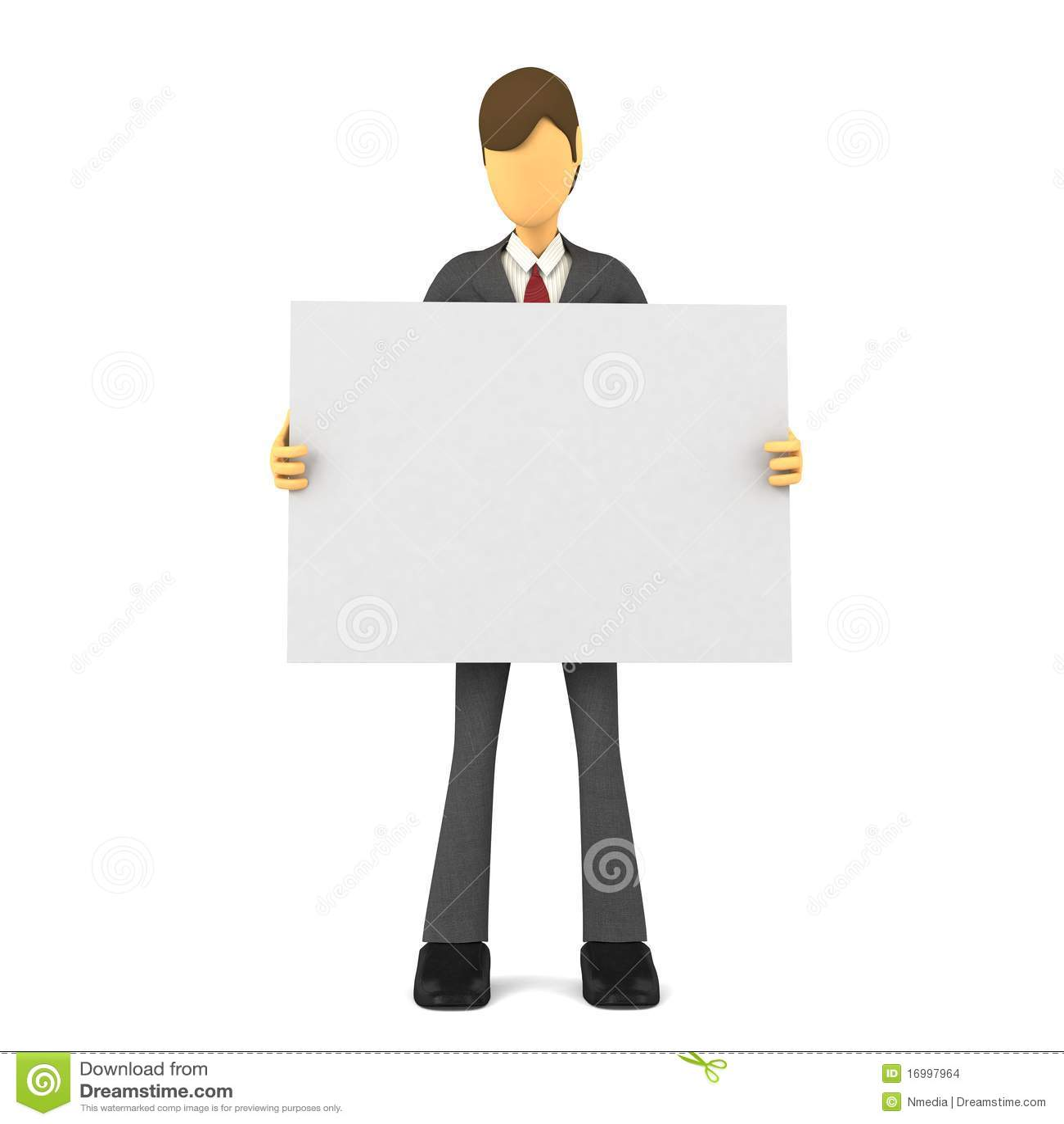 3d businessman blank poster template stock illustration