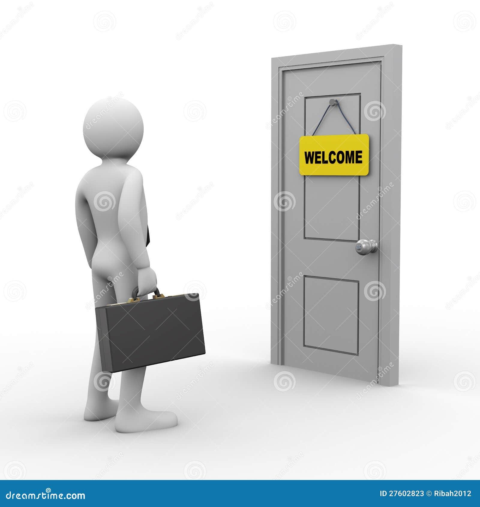 3d businessman door welcome