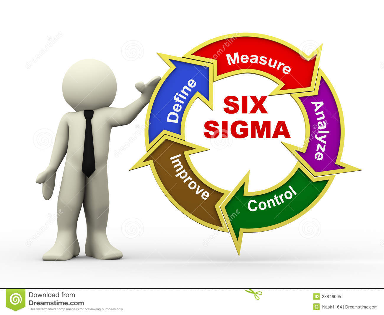 3d Businessman And Six Sigma Flowchart Royalty Free Stock