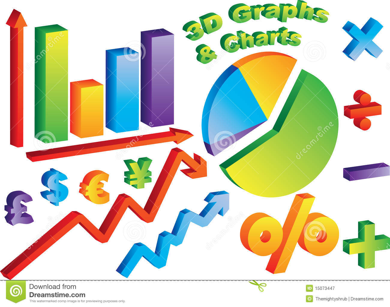 3D Charts and Graphs stock image. Image of graph, minus ...