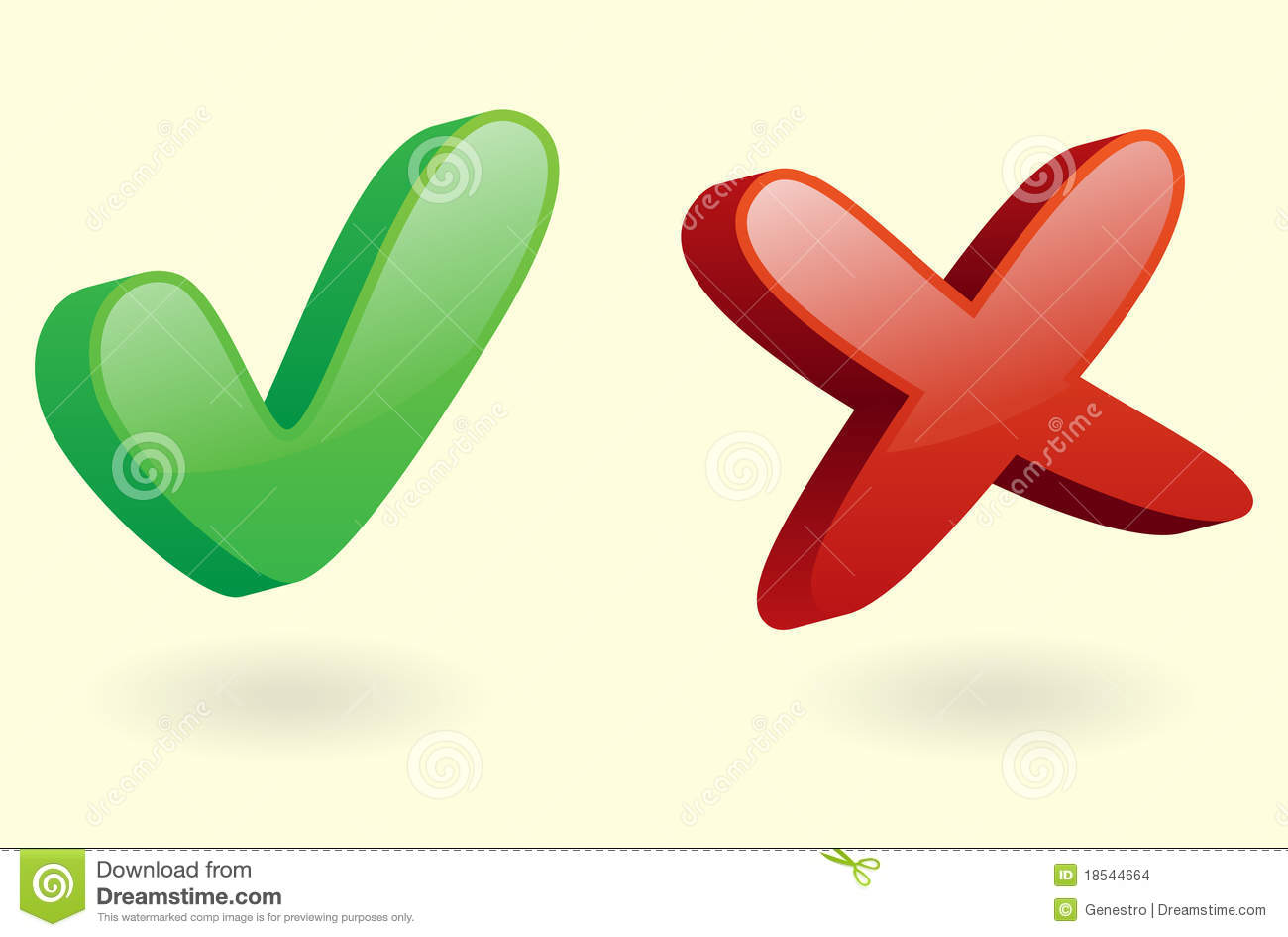 3d Checkmarks Icon (ok And Cancel) Stock Images - Image: 18544664