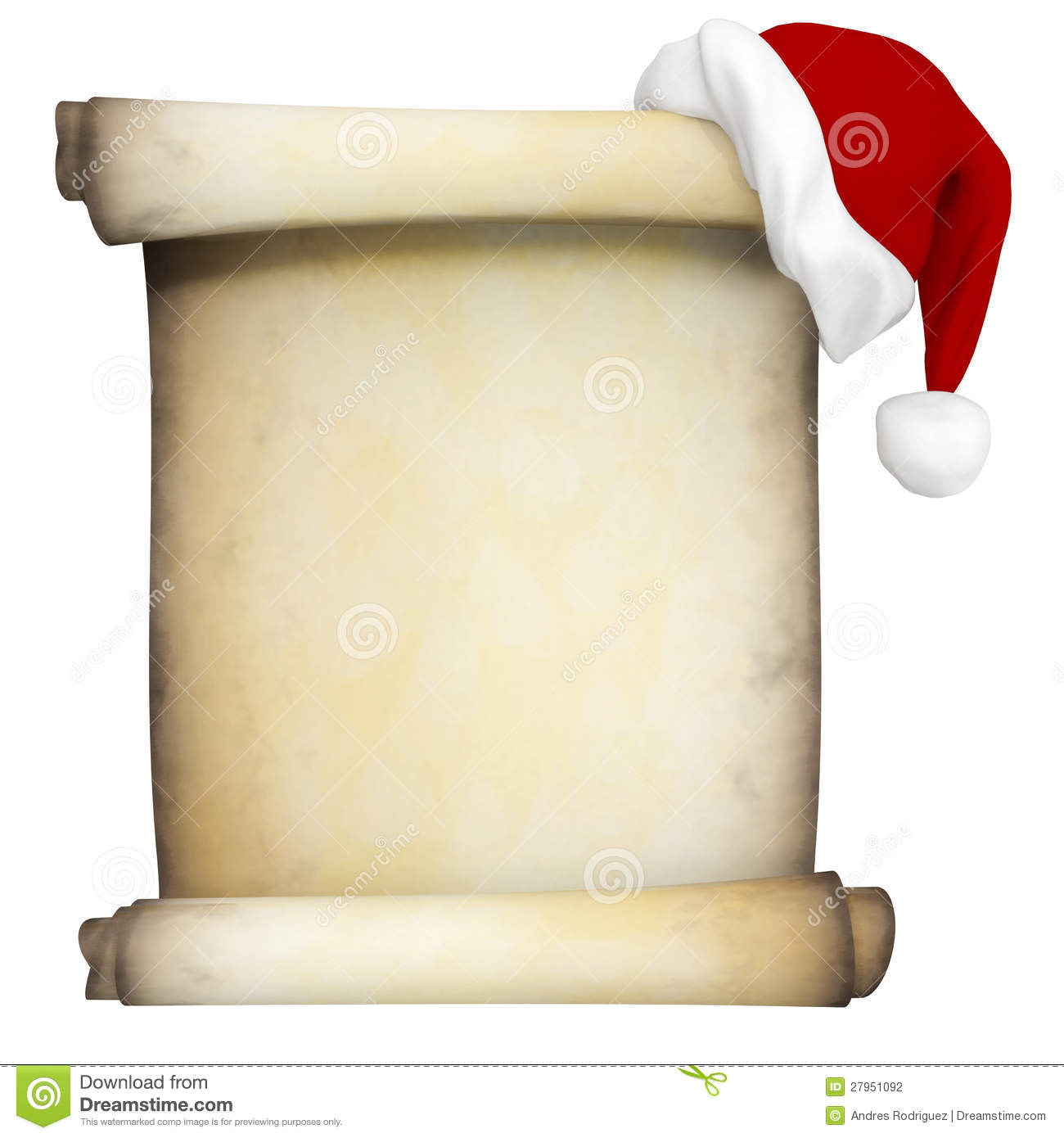3D Christmas scroll with a Santa hat - isolated over a white ...