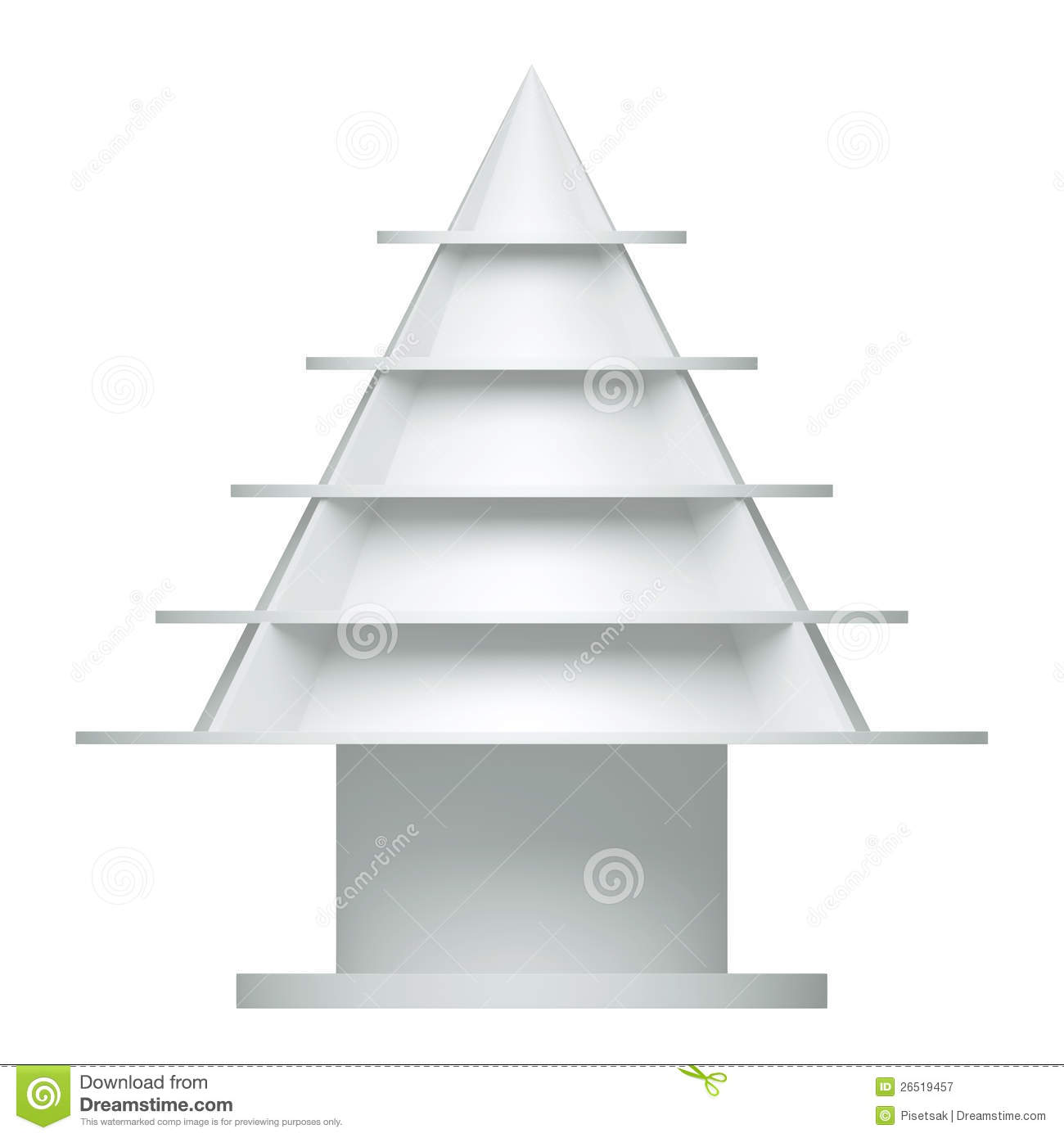 3d Christmas Tree Shelves And Shelf Royalty Free Stock