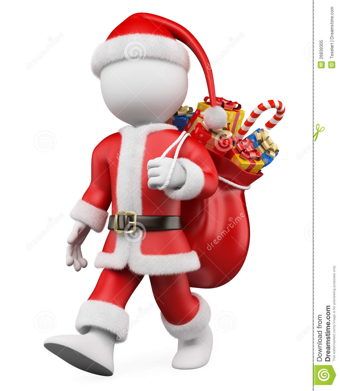3d white christmas person. Santa Claus walking with a sack full of ...