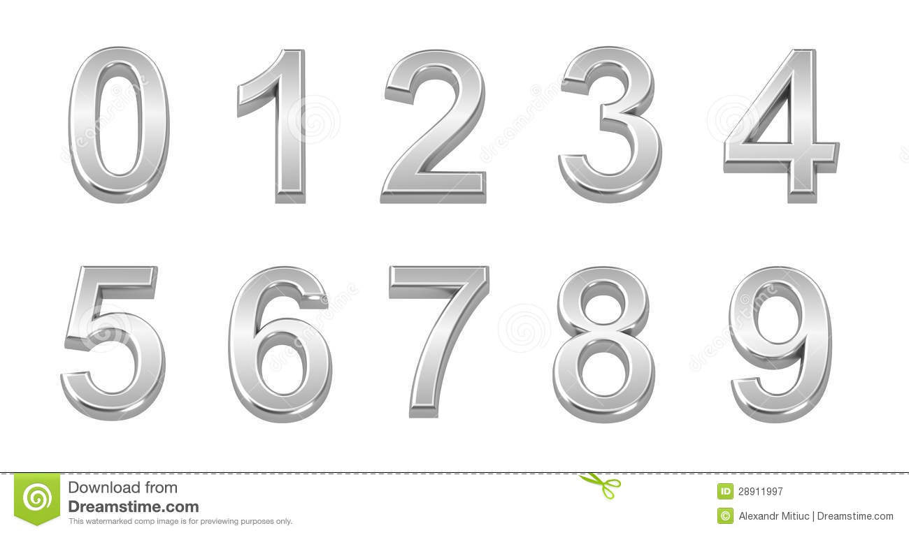 3D Chrome Numbers Set From 0 To 9 Royalty Free Stock Photography ...