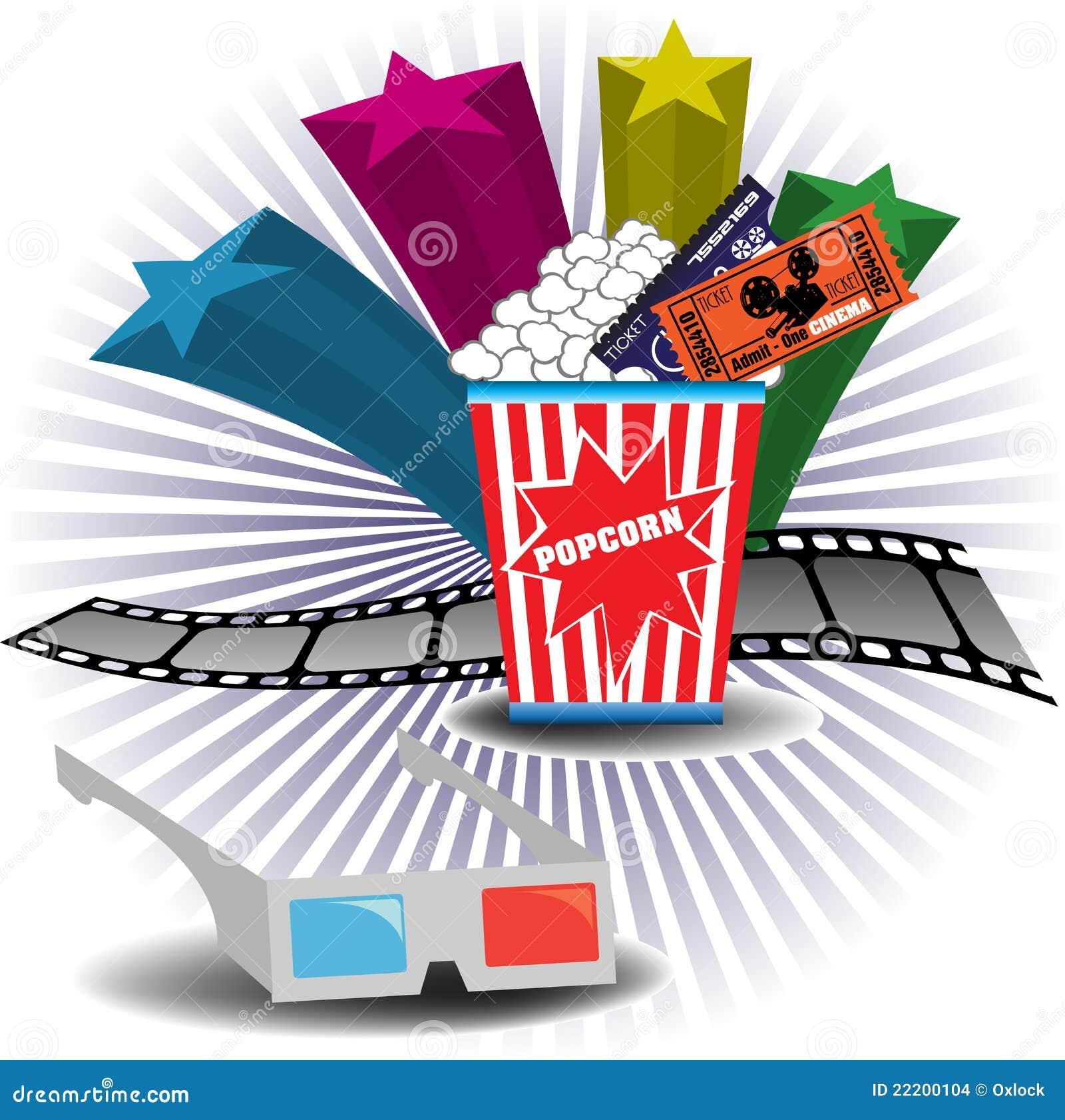 ... cinema glasses, filmstrip, popcorn and cinema tickets. Cinema theme