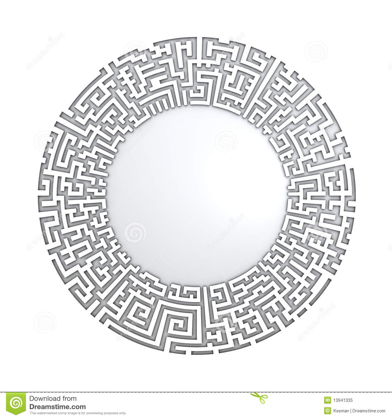 3D Circle In Labyrinth Pattern Royalty Free Stock Photo