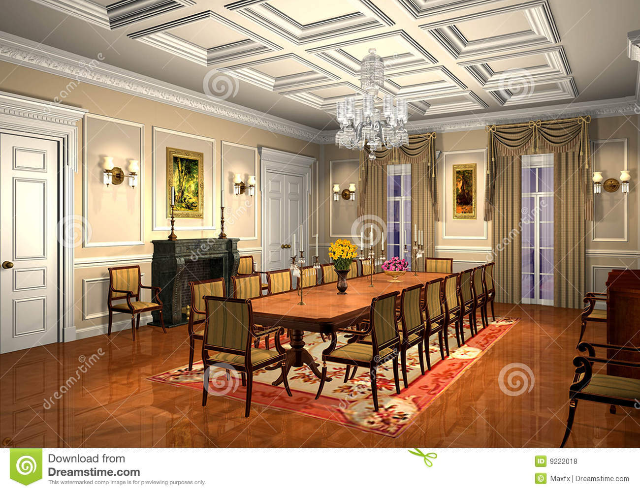 3d Classic Dining Room Stock Illustration Illustration Of Indoor 9222018