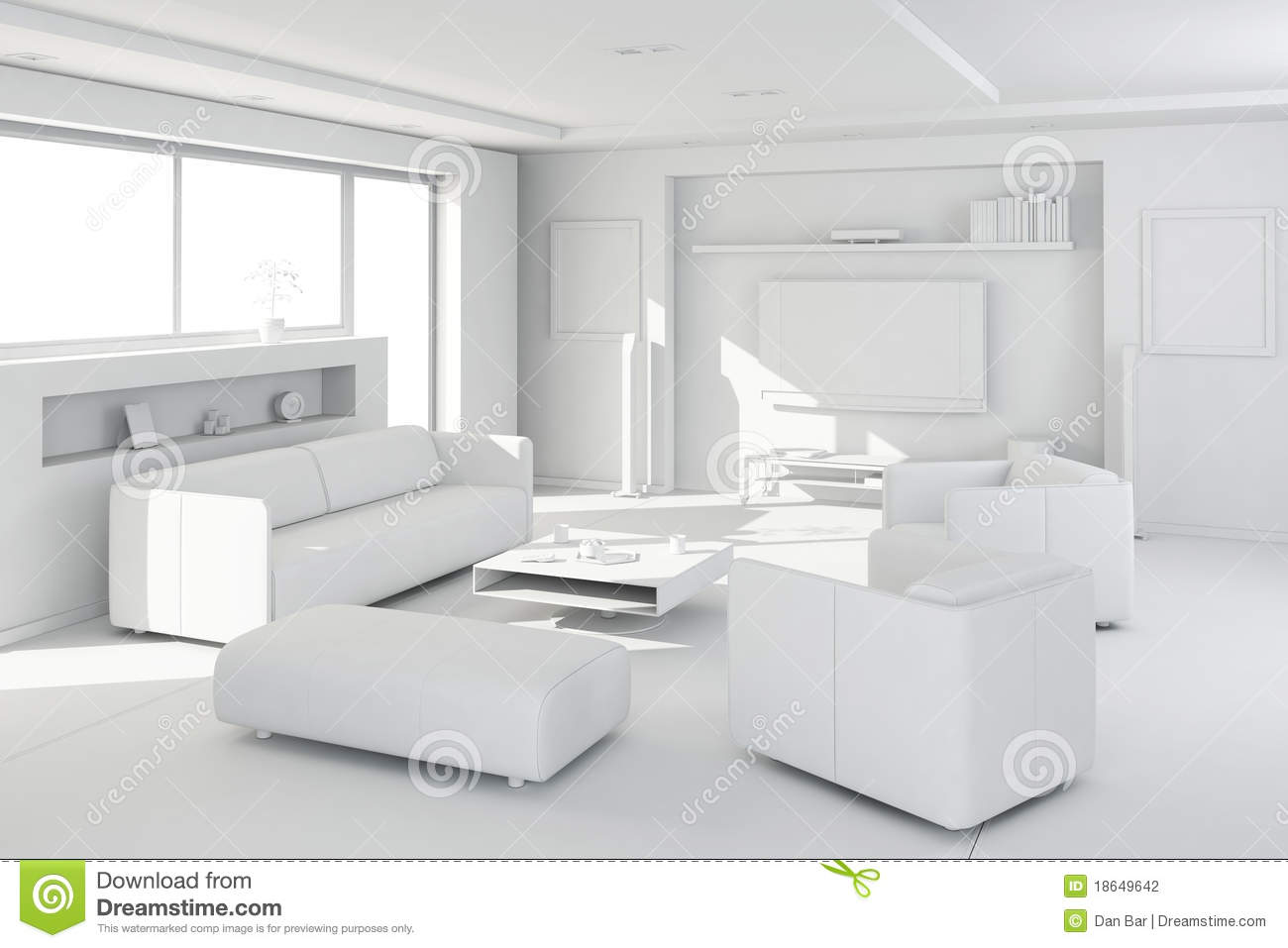 3d clay render of a modern interior stock illustration Clean modern interior design