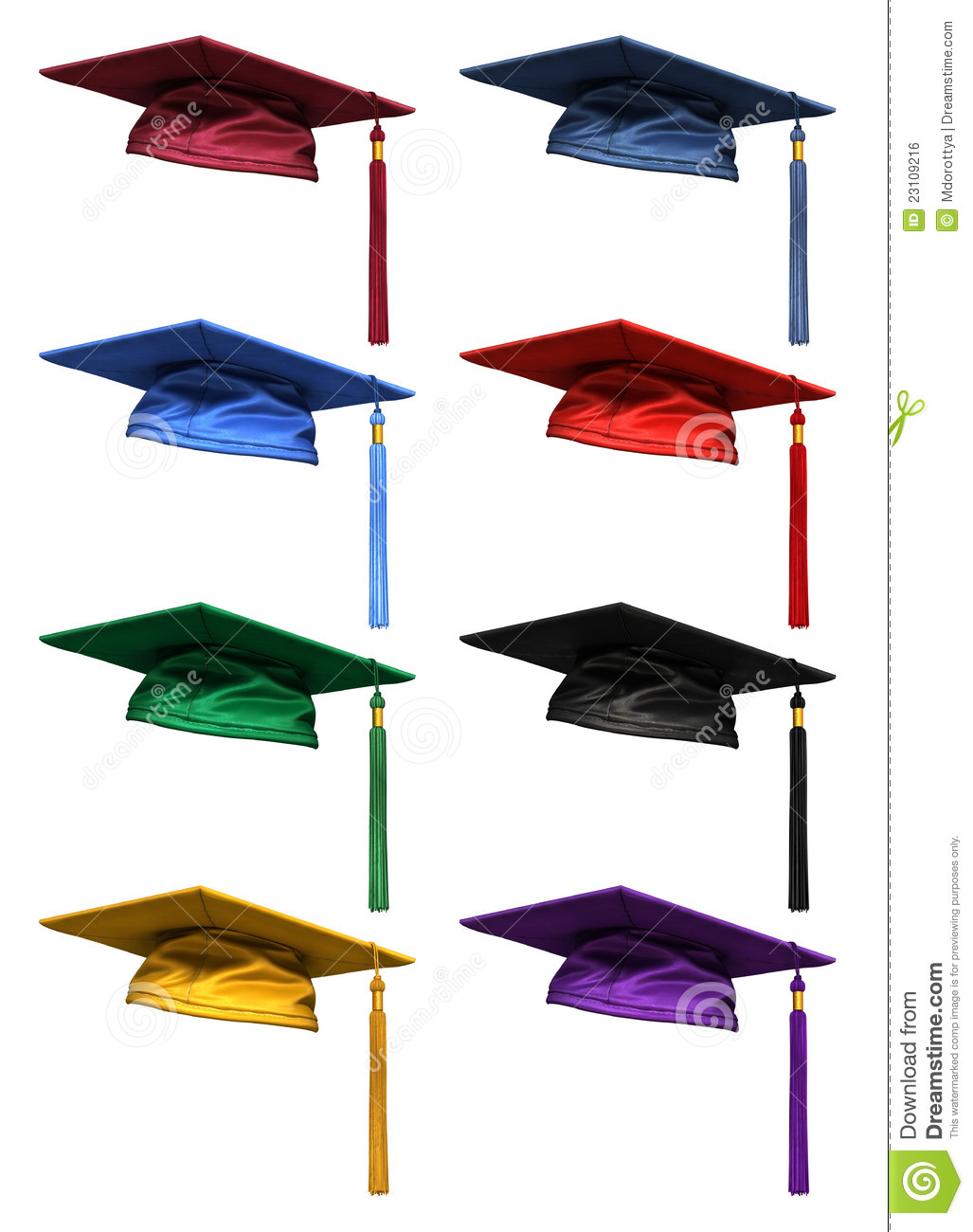 3D Collection Of Graduation Caps Royalty Free Stock Image - Image ...