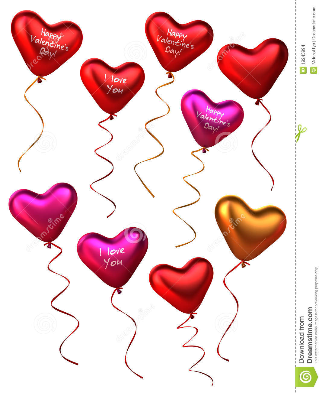 3D Collection Of Heart Shape Balloons Stock Images - Image: 18245894
