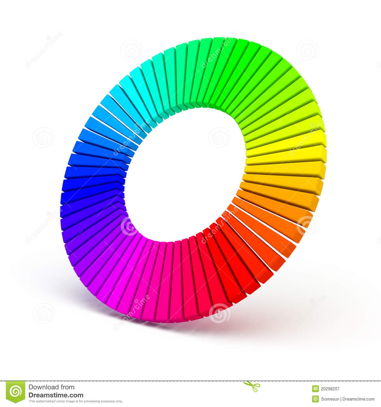 3d Color Wheel Isolated On White Background Stock
