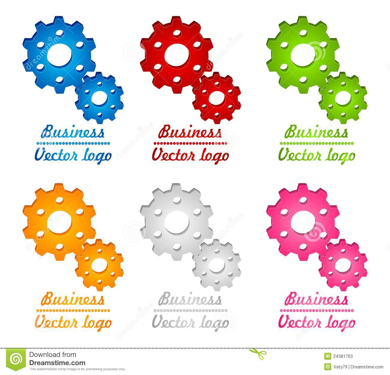3D Colored Gear Logo Stock Vector. Illustration Of Concept