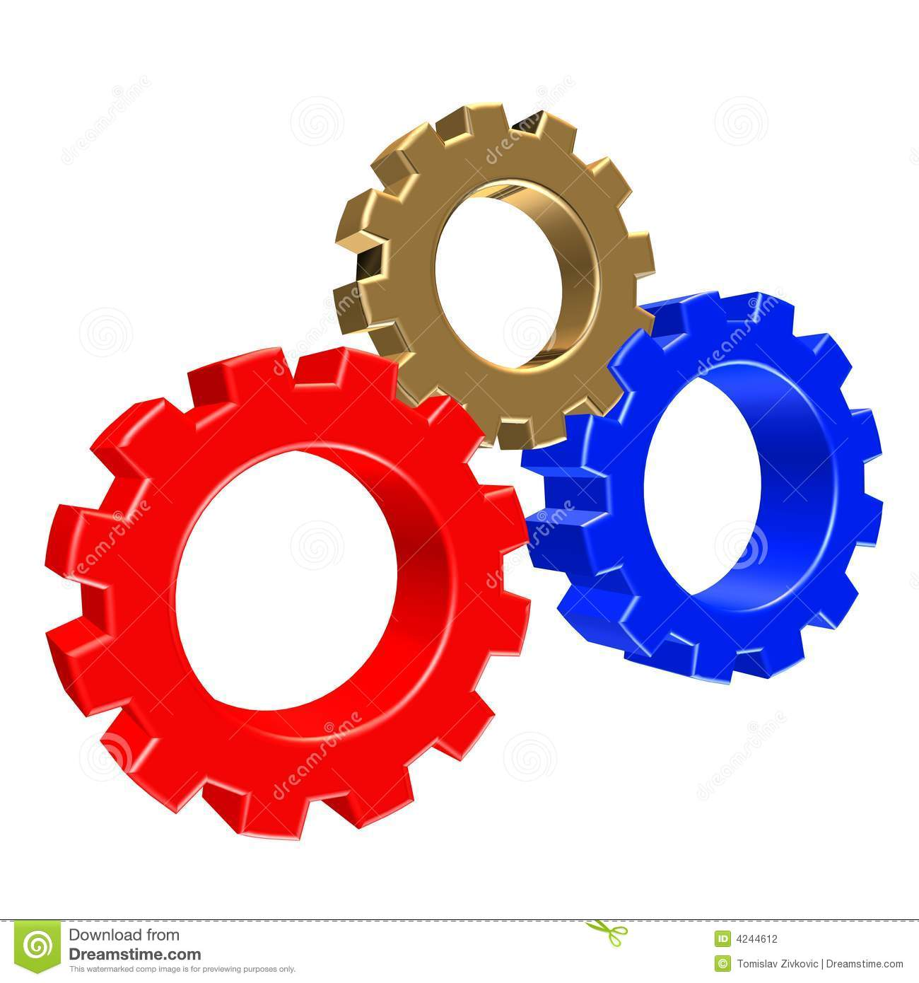 3D colorful gears stock illustration. Illustration of