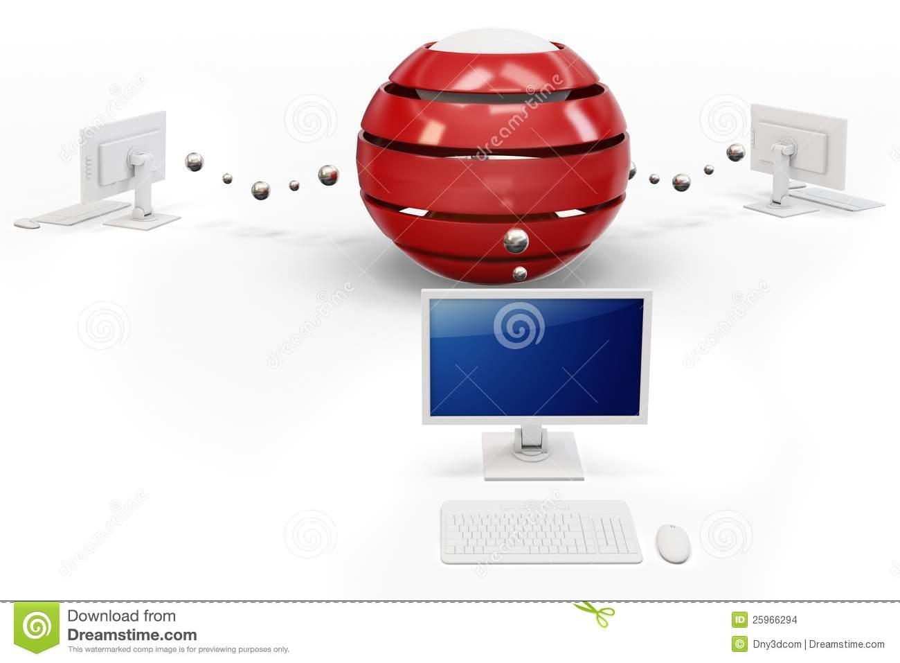 3d Computer Network With Central Hub Server Stock Images