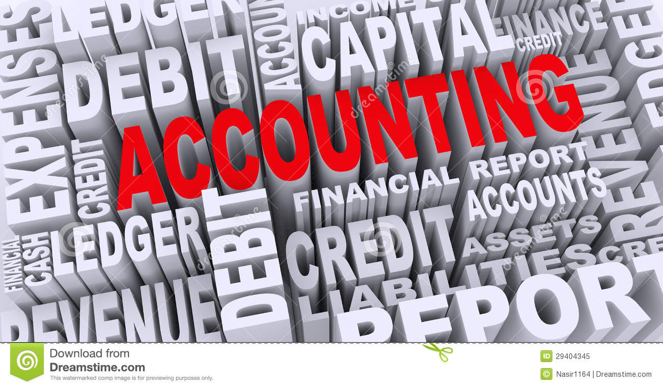 3d concept of accounting word tags stock illustration