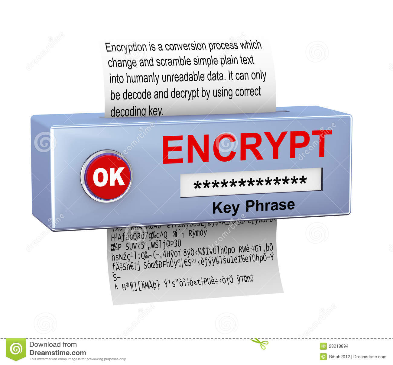 Security Encryption: 3d Concept Of Data Encryption Process Stock Images