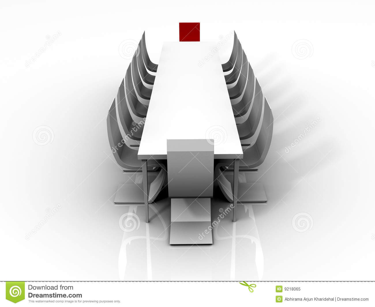 3D rendered image of a conference table with a red chair for the