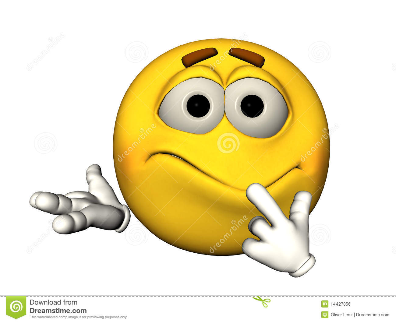 3d confused smiley emoticon royalty free stock image
