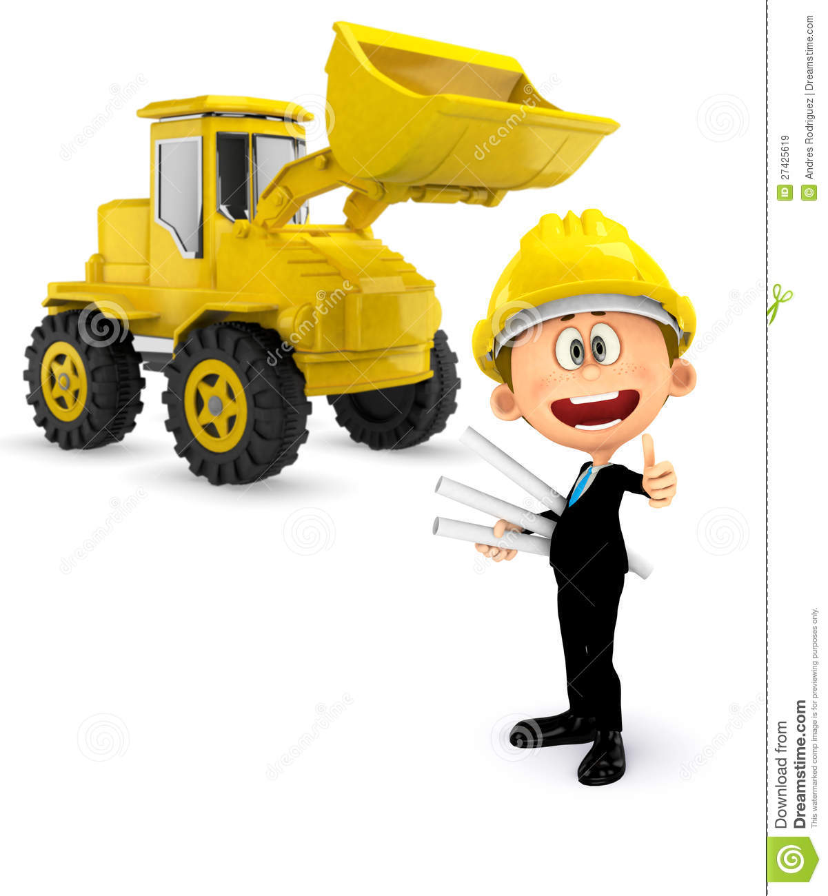 3d construction worker with a bulldozer royalty free stock for Construction 3d