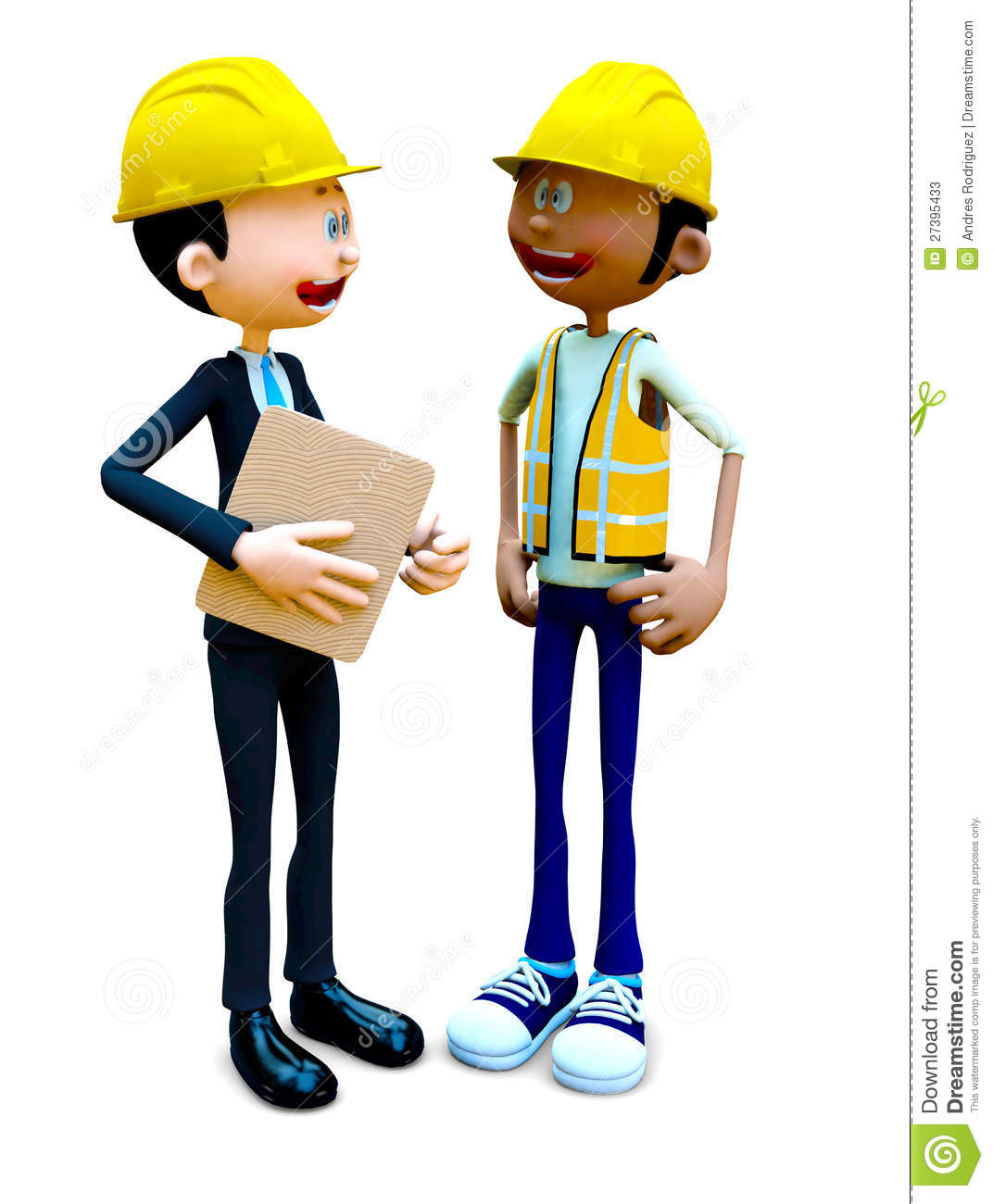 3D construction workers talking and wearing helmets - isolated.