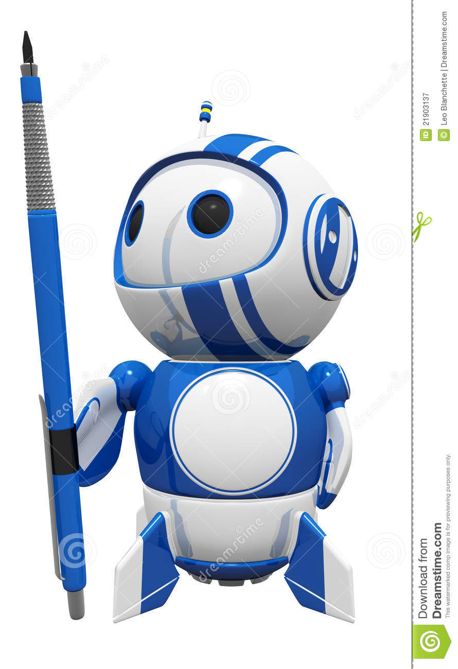 3d Cute Blue Robot Holding Drafting Pencil