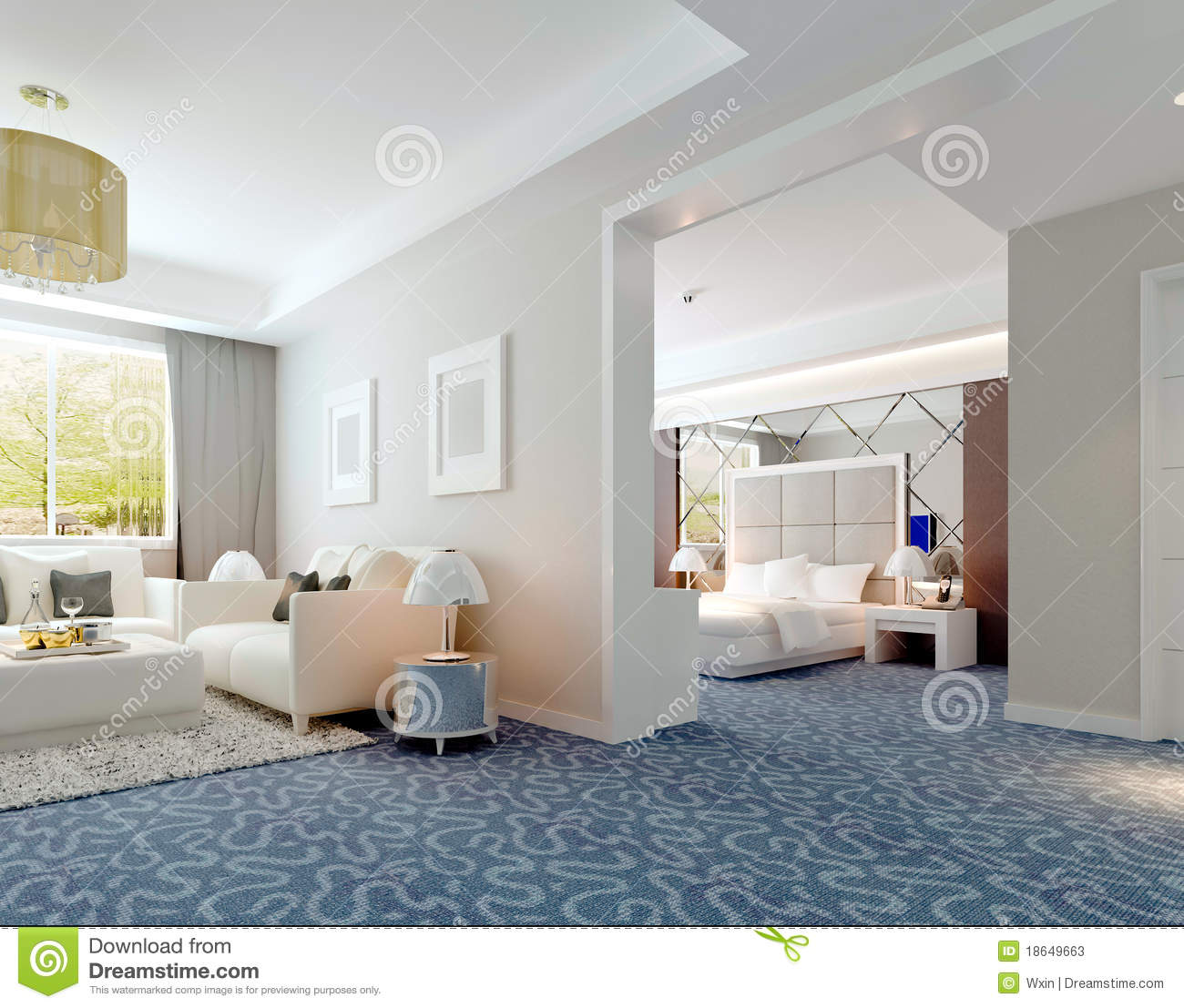 3d deluxe hotel suite interior rendering stock illustration image 18649663. Black Bedroom Furniture Sets. Home Design Ideas