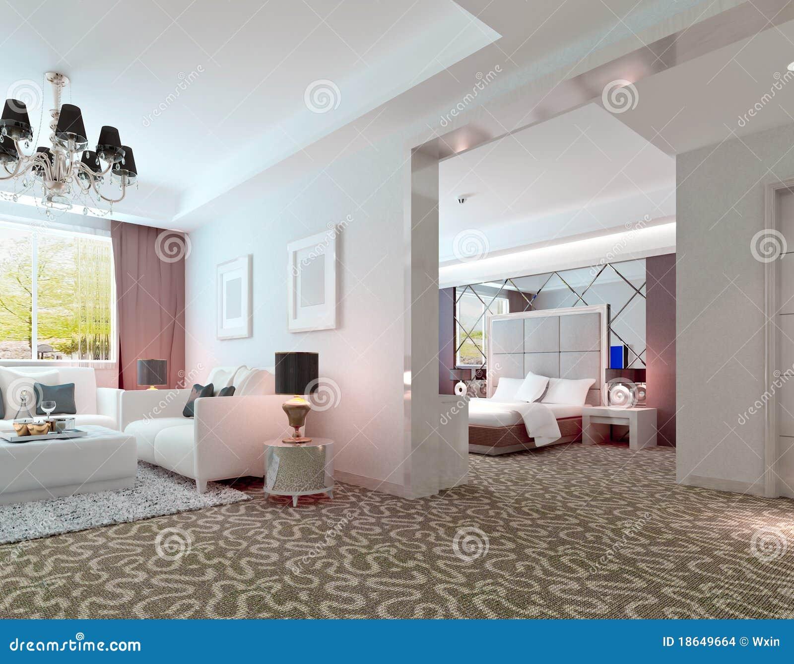 3D Deluxe Hotel Suite Interior Rendering Stock Images