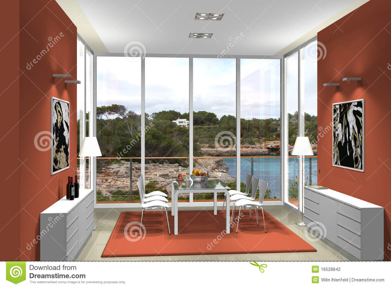 3d dining room with fantastic view stock photography for Dining room 3d view