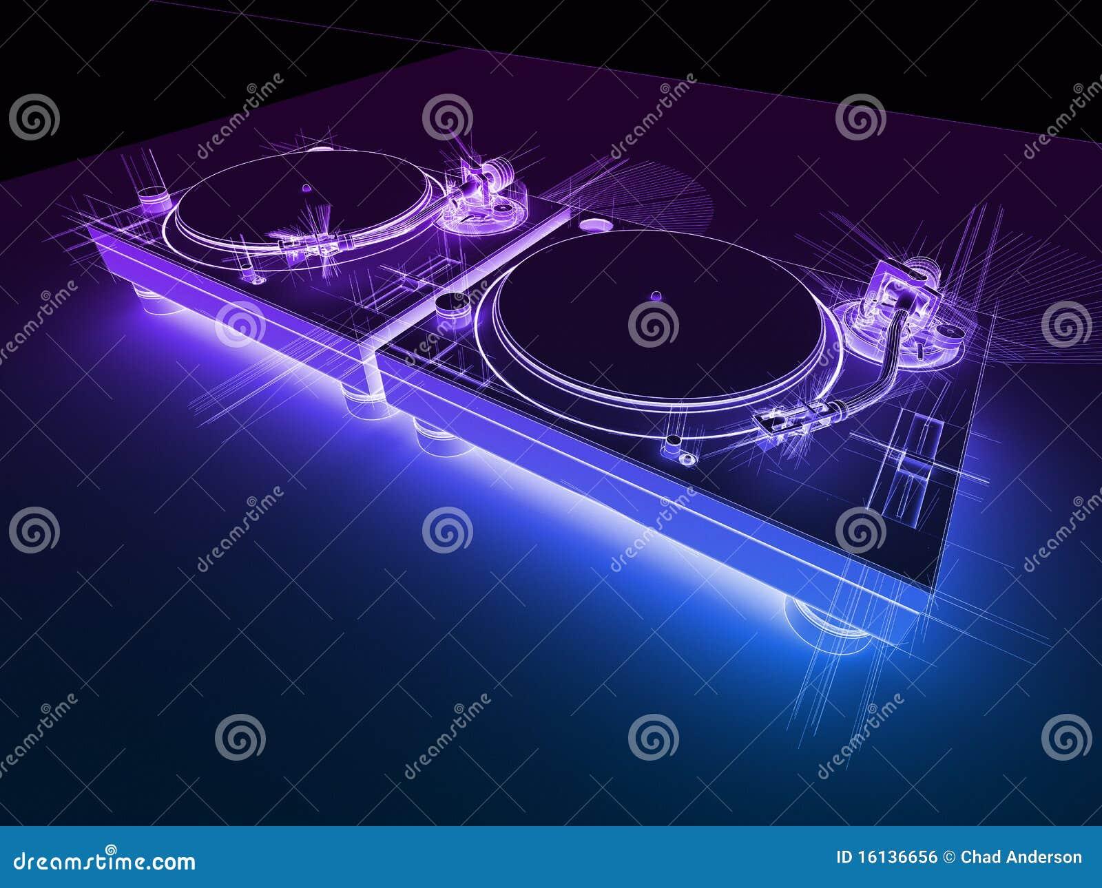 3d dj neonowi nakreślenia turntables