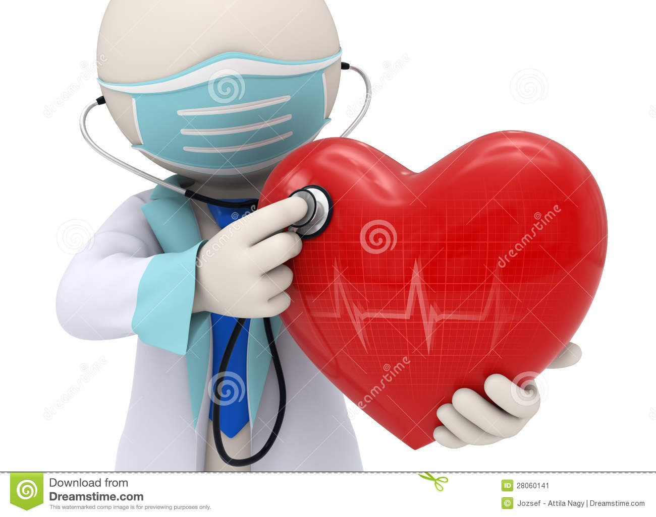 3d Doctor Examining A Heart With A Stethoscope Stock Image