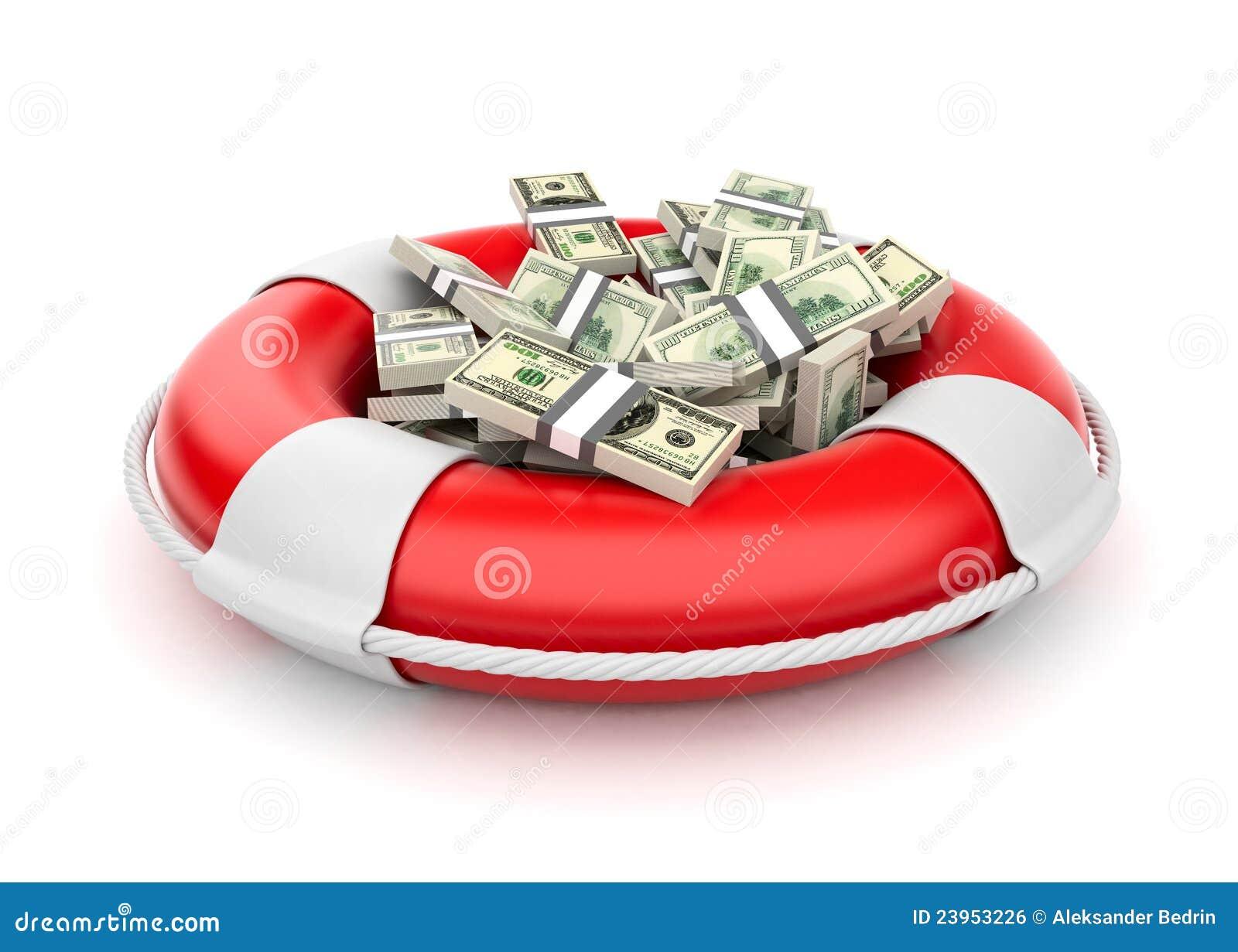 3d dolarów lifebuoy pieniądze ratunek