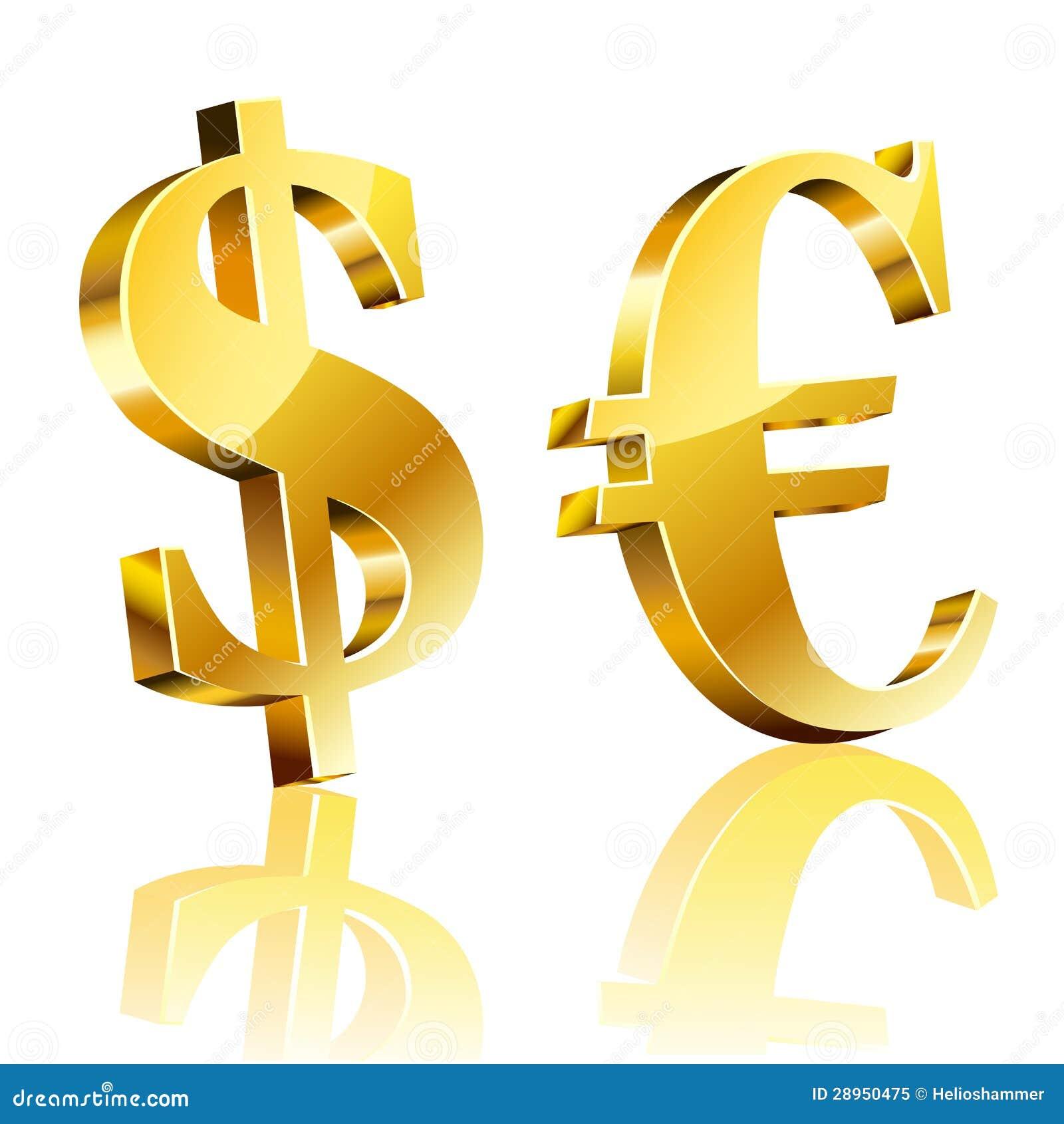 13d1acaa9 3D dolara i euro znak ilustracja wektor. Ilustracja złożonej z ...