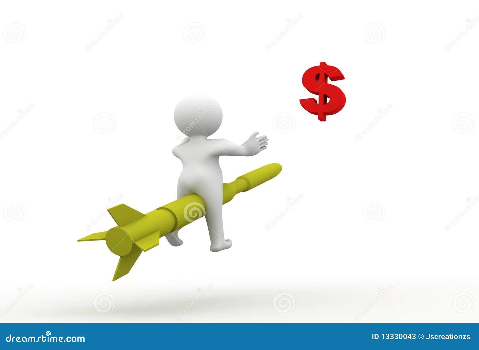 3d dolarowy mężczyzna rakiety znaka obsiadanie
