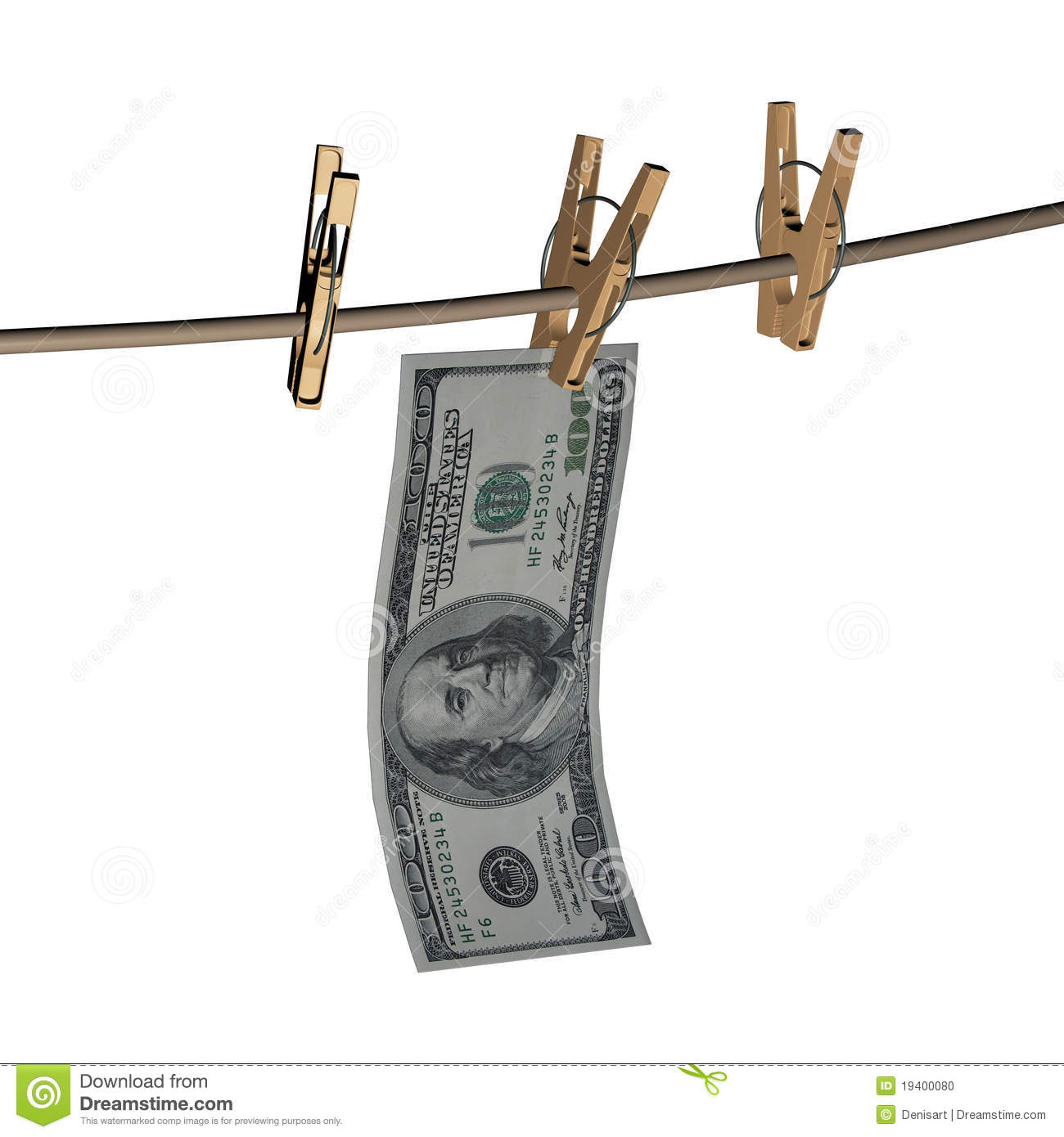3d Dollar Is Hanging On A Wooden Clothespin Stock Photo