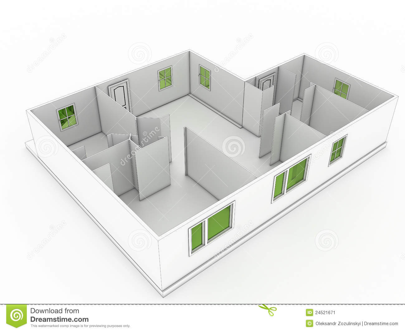 3d drawing of a building 1 3d house building