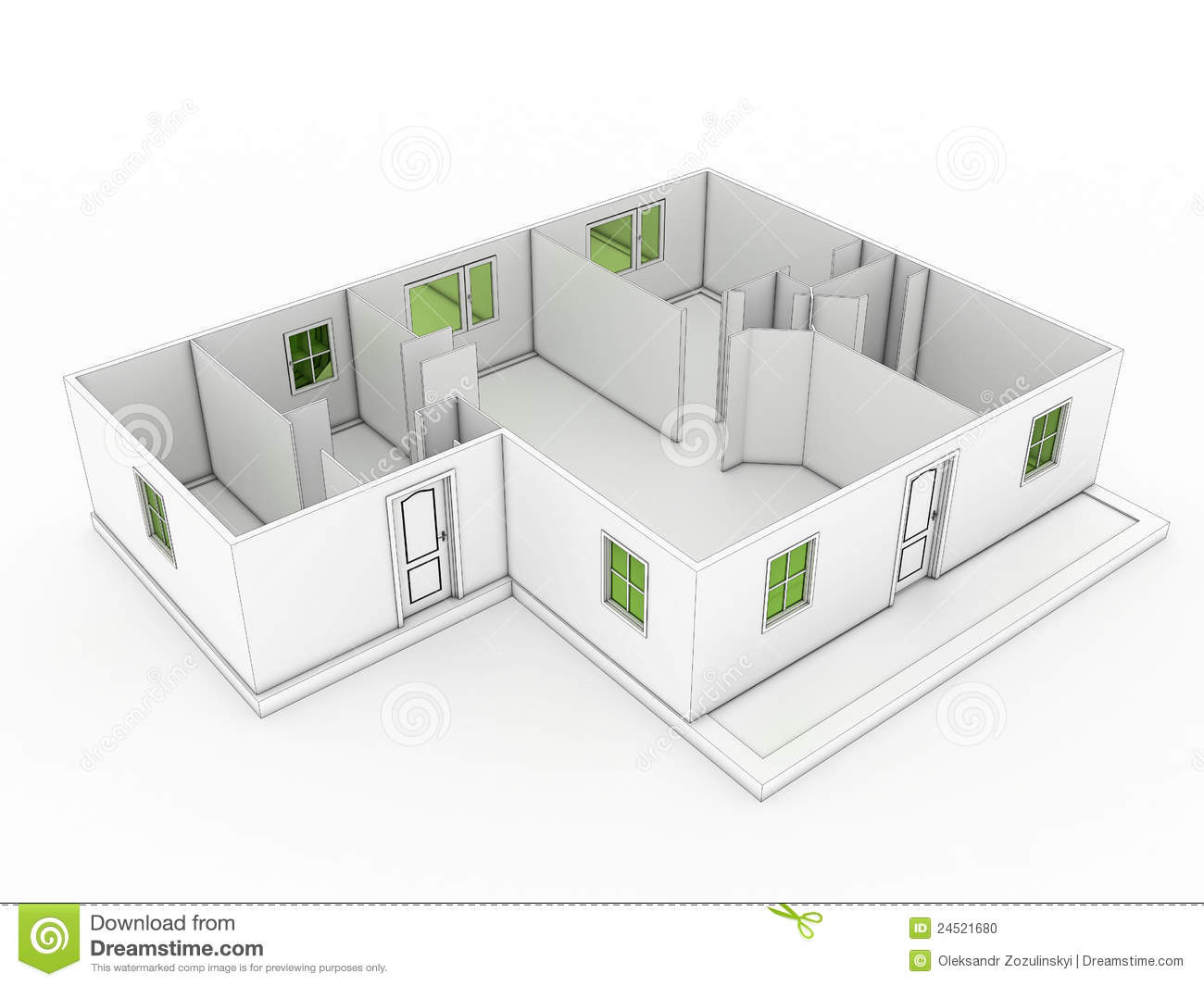 3d Drawing Of A Building 3 Stock Photo Image 24521680
