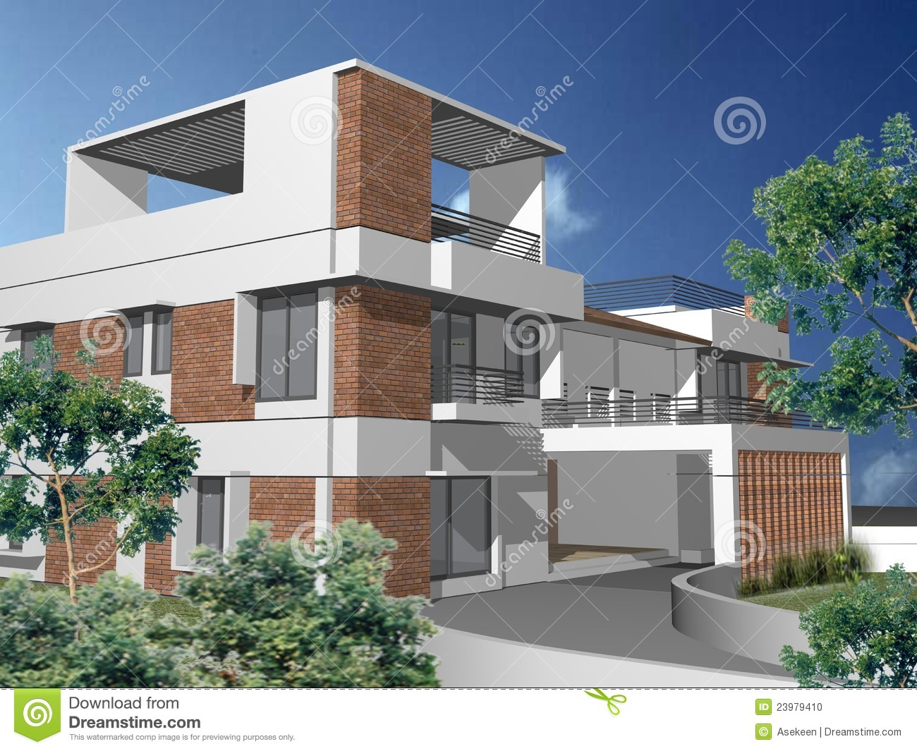 3d duplex house stock photo image 23979410 for Duplex plans with cost to build