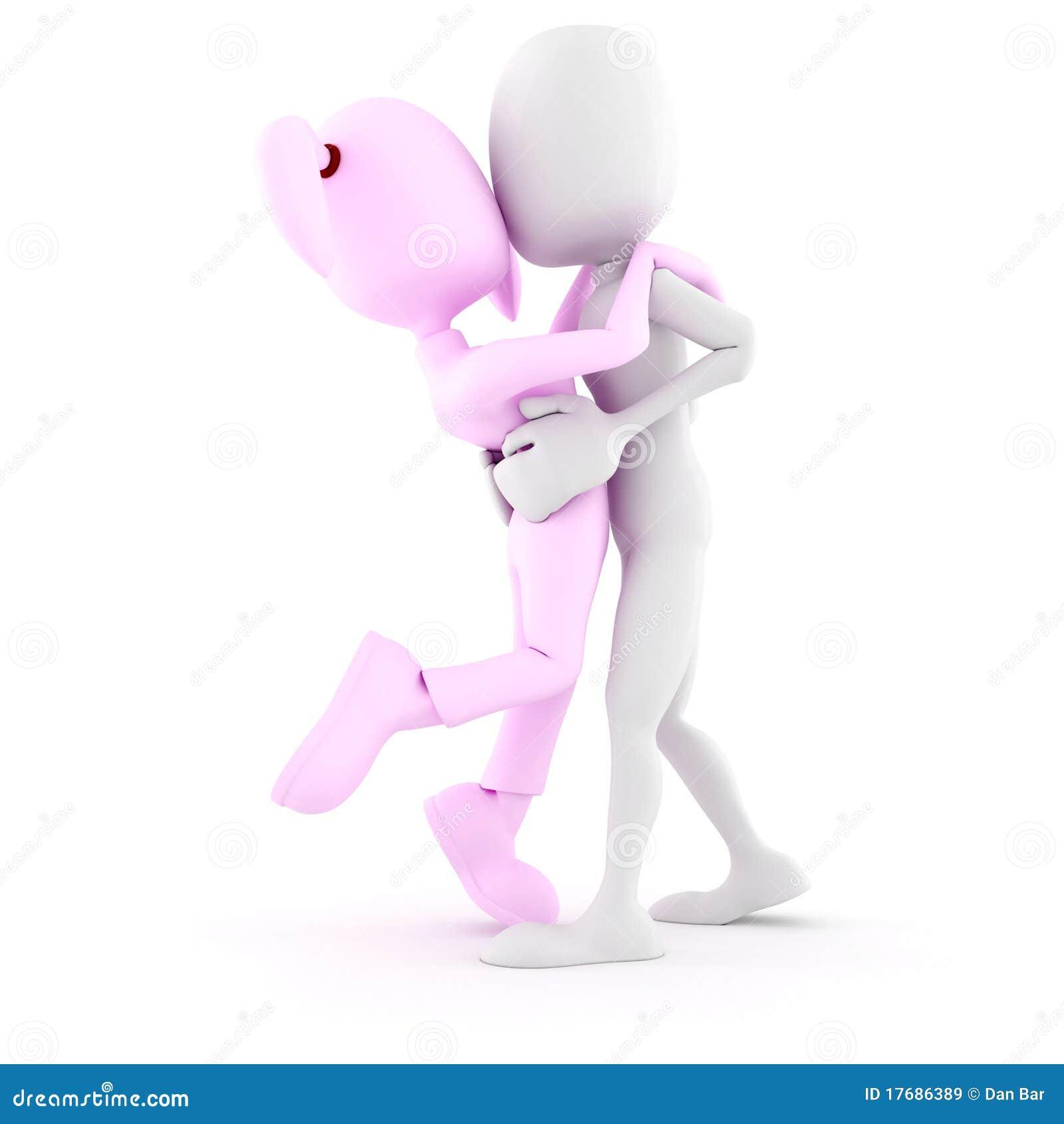 3d dziewczyna odizolowywał całowania mężczyzna biel