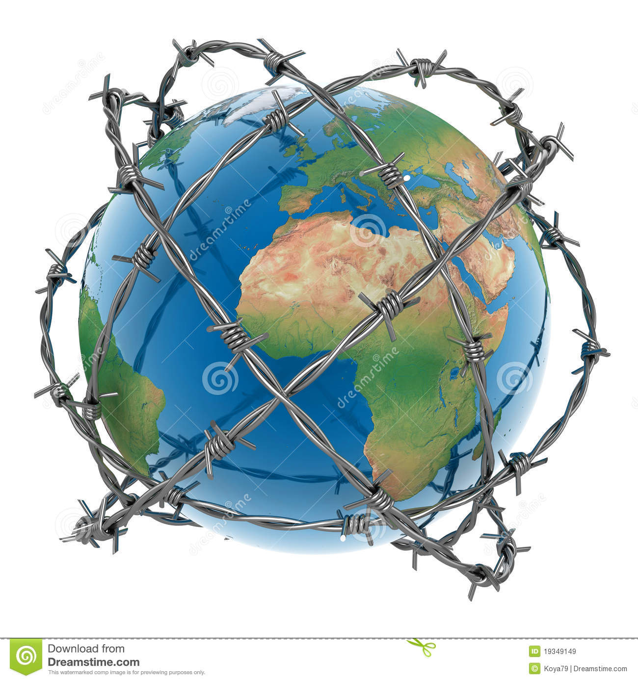 3d Earth Surrounded By Barbed Wire Stock Illustration - Illustration ...
