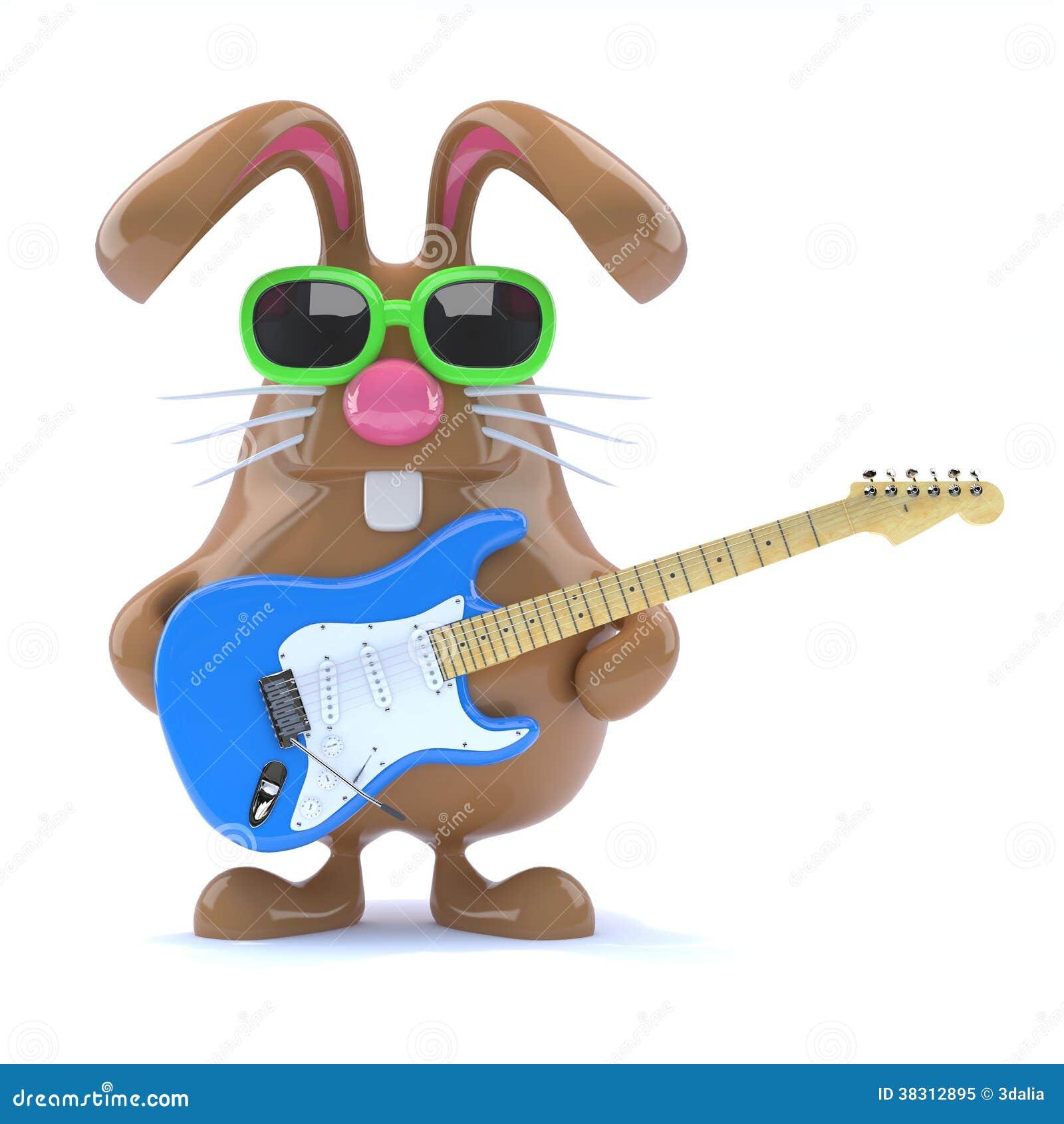 3d Easter bunny played guitar