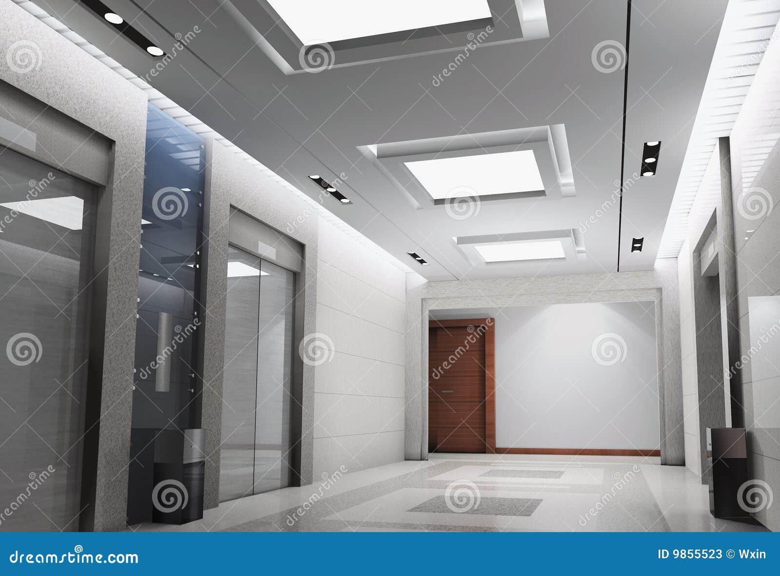 3d elevator lobby rendering stock illustration for Modern elevator design
