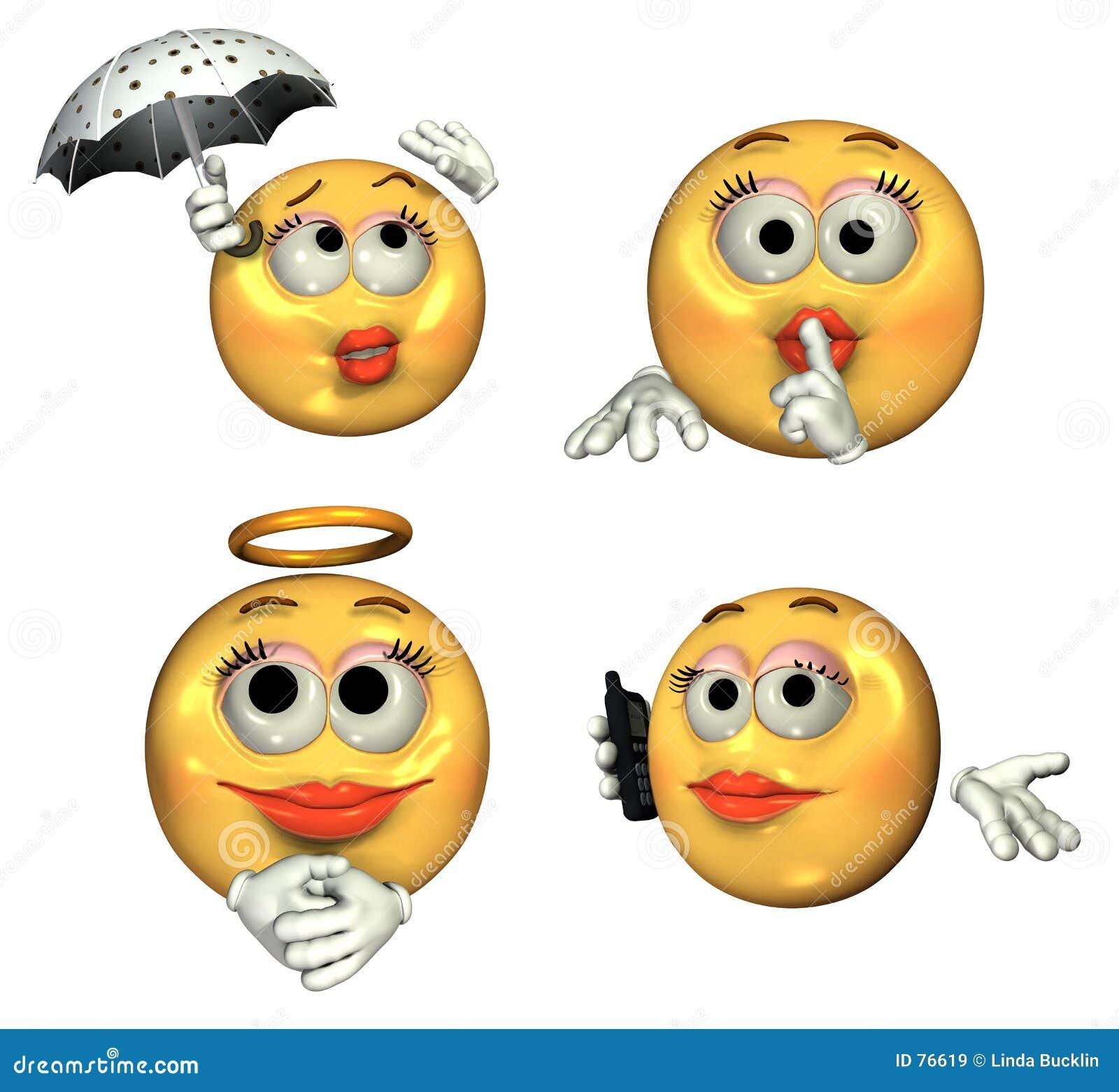 3d Emoticons Grandes Meninas Imagens De Stock Royalty