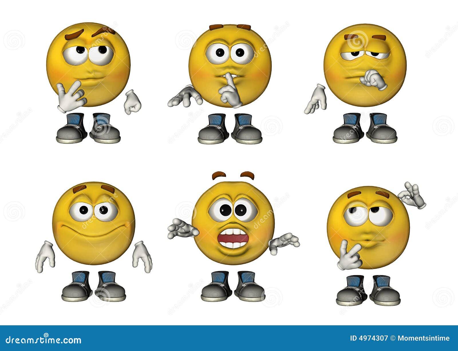3d emoticons set 3 stock illustration. illustration of smiley - 4974307